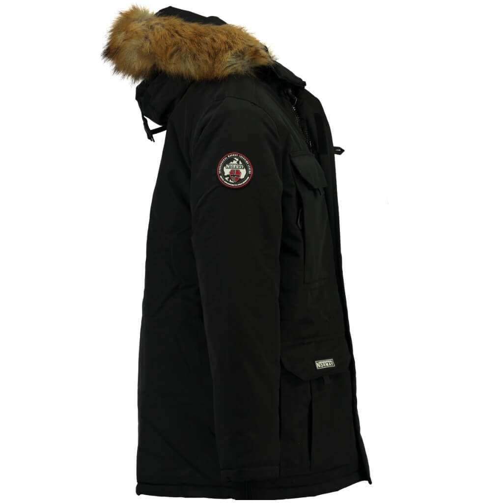 Geographical Norway heren winterjas imitatie bontkraag Bottle zwart